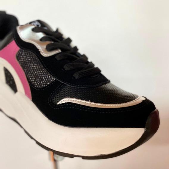 Tênis Via Marte Preto Rosa Chunky Sneaker 20-5803 - Atitude