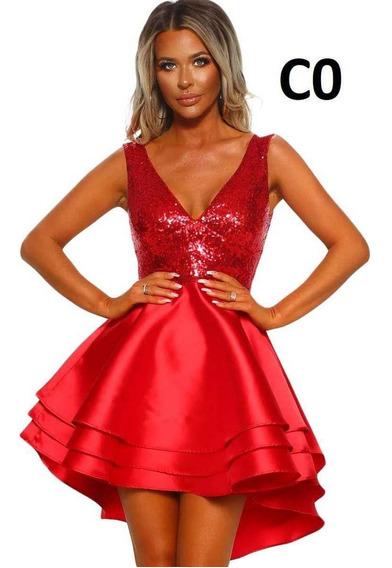 Vestido Rojo Corto Con Lentejuelas