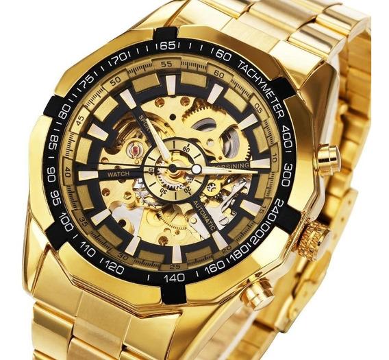 Relógio Dourado Automatico Eskeleto Original Forsining Mascu