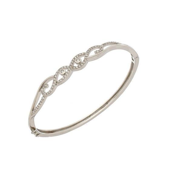 Bracelete Prata Com Ródio Pedras Zircônias Garantia Total