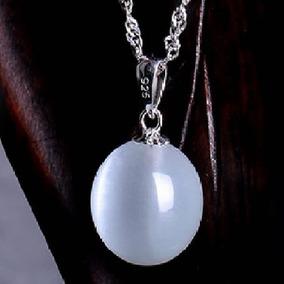 Pingente Feminino Bola Prateado Prata 925 Pedra Da Lua Joia