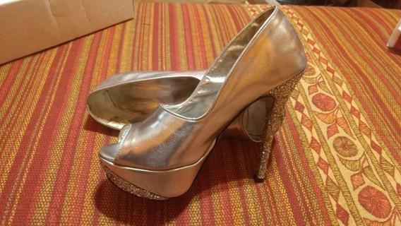 Zapatos De Fiesta Plateados. Taco Glitter. Excelente Estado