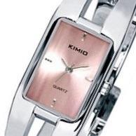 Relógio Feminino Retangular Casual Kimio 1601 Original Prata