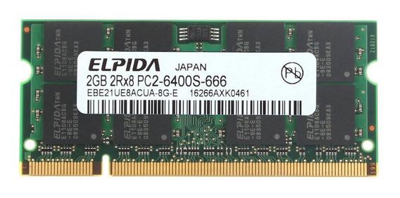 Memória Ram Notebook 2gb Elpida Pc2 6400s Ddr2 800mhz
