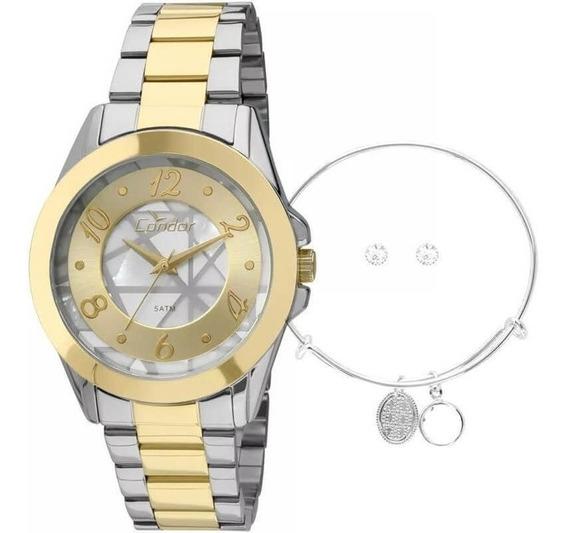Kit Relógio Condor Feminino Co2036cu/k5c + Pulseira E Brinco