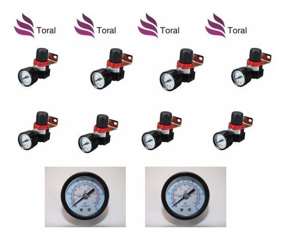 Kit 8 Regulador De Pressão 1/4 + 02 Manômetros 1/8 0 Á 10bar