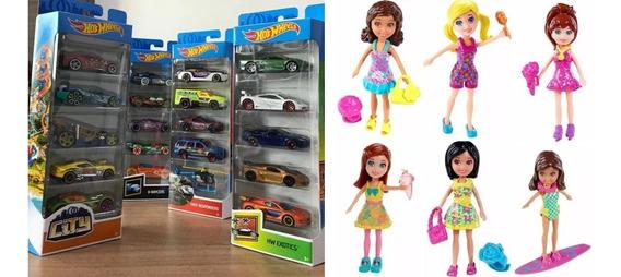 Kit Com 15 Carrinhos Hot Wheels E 6 Polly Pocket Originais