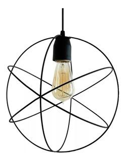 Lampara Colgante 1 Luz Jaula Esfera Negra Atomo Ø30cm C 1018