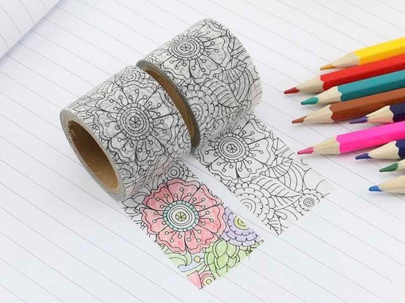 Washi Tape Fita Decorativa Flores Para Colorir