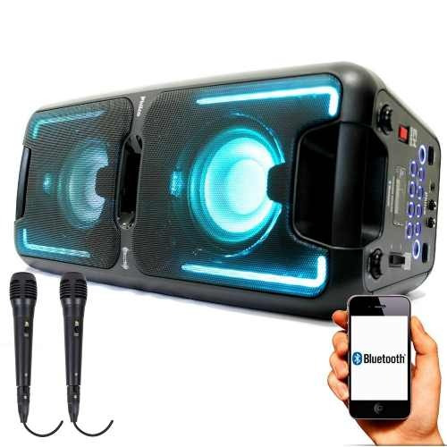 Caixa De Som P2 Usb Fm Sd 2 Microfones Grátis Philco 5500