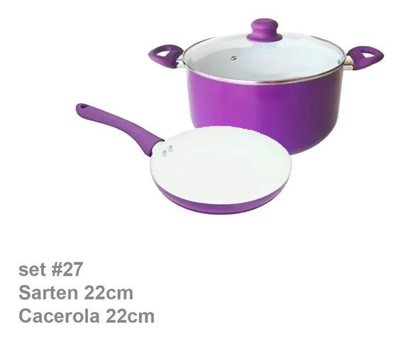 Set Juego Sarten 22 + Olla Cacerola 22 Ceramica Tv Cool 3pz