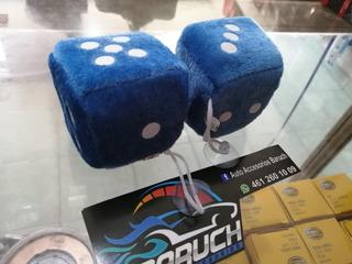 Par Dados Peluche Azul 6.5cm C/chupón P/auto Adorno