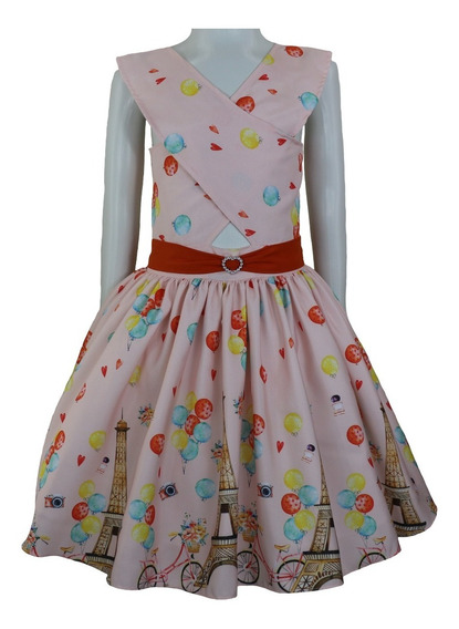 Roupas Infantil Feminina Vestido Princesa Paris