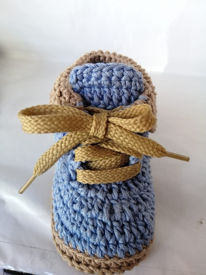 Botas Tejidas Para Bebé Azul-caqui