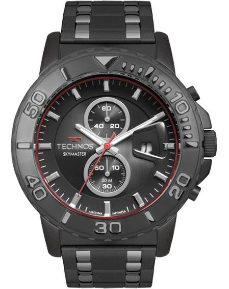 Relógio De Pulso Technos Aço Preto Crono Os11ec/1p