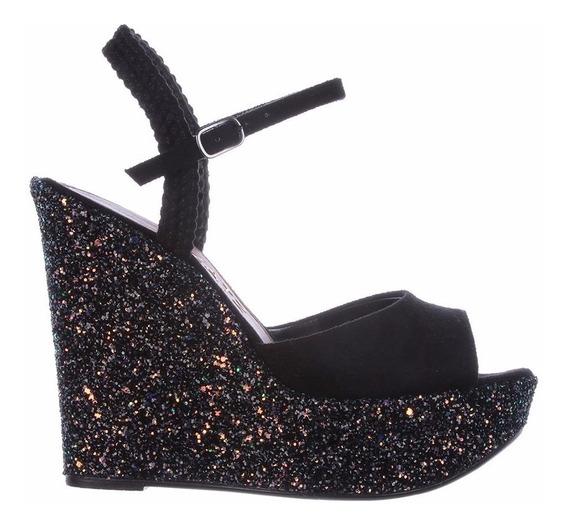 Anabela Suede Preto Com Glitter - Zatz Calçados