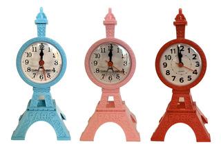 Reloj Despertador Torre Eiffel Plástico De Mesa