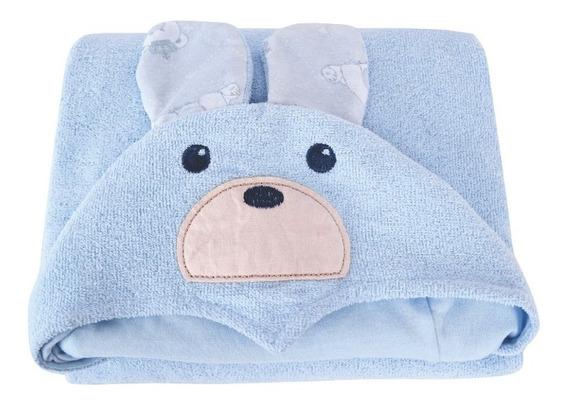 Toalha De Banho Infantil Com Capuz Felpuda Bebe Menino Azul