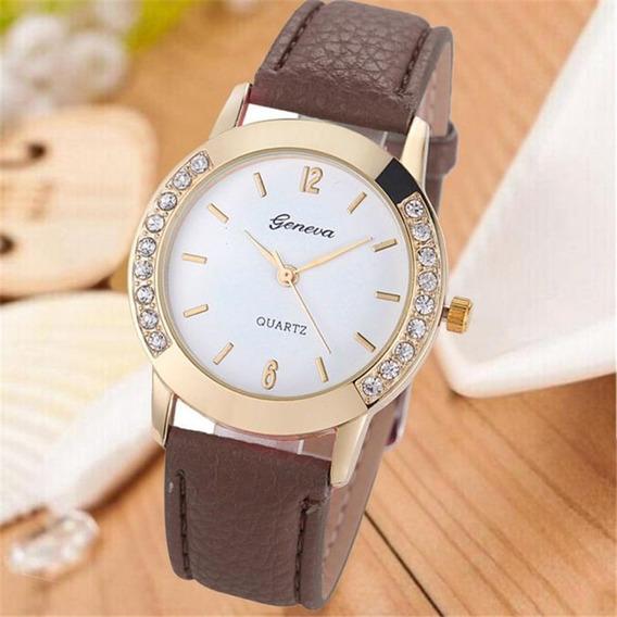 Relógio Com Pedra Brilhante Feminino