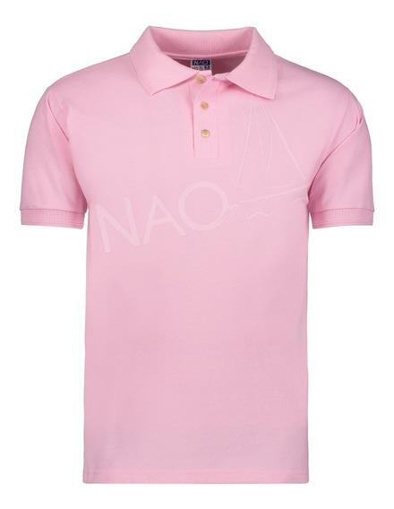 Playera Tipo Polo Color Rosa Para Caballero / Bordado