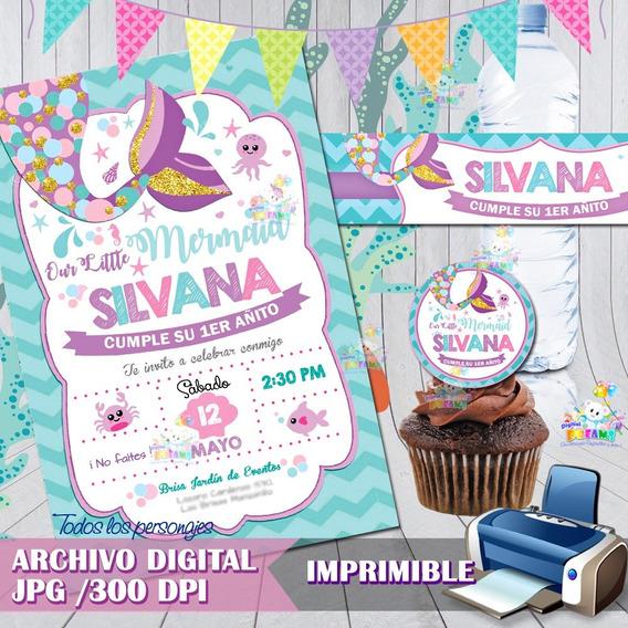 Cumpleaños De Sirenita Ariel Invitaciones Recuerdos