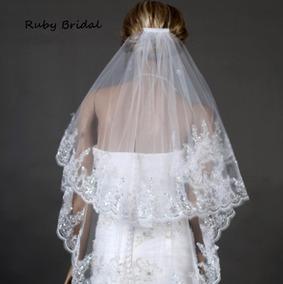 21be4c4be Mantilha Véu De Noiva Curto 2 Camadas Tule Bordado Casamento