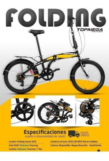 Bicicleta Plegable Top Mega Folding 7vel Shimano 18 Cuotas
