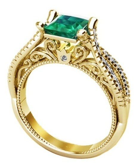 Anel Majestosa Cristal Esmeralda Solitário Banhado Ouro 18k