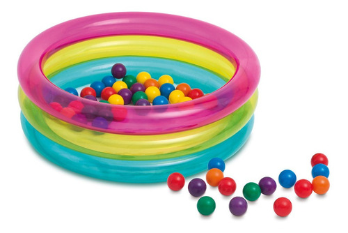 Piscina Inflável Com 50 Bolinhas Multicolor - Intex 48674
