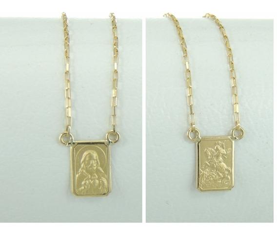 Escapulário São Jorge Sagrado Coração Jesus Em Ouro 18k 750
