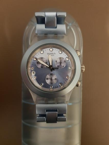Relógio Swatch Irony Diaphane Blue Estado De Novo!!!