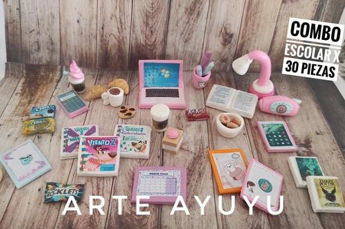 Comiditas Miniaturas Para Barbie Combo Escolar X 30 Piezas Mercado Libre