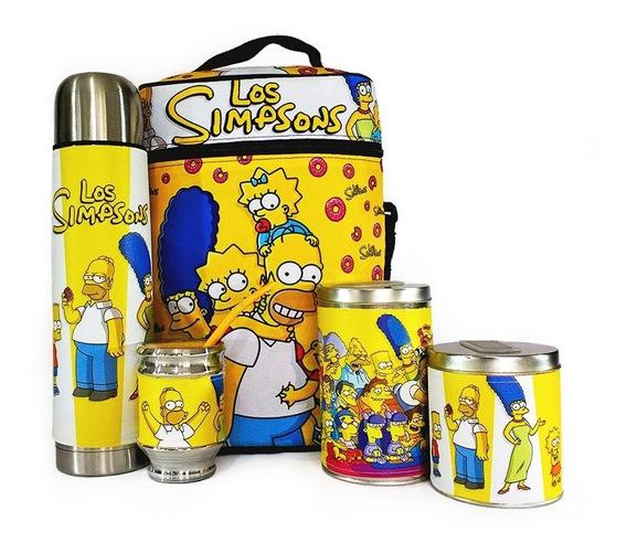 Equipo De Mate Madera Completo Los Simpsons Regalo Cuero