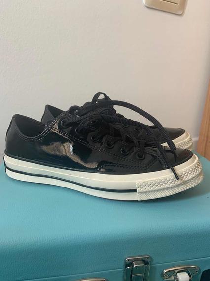 Zapatillas Converse Charol Color Negro. Muy Poco Uso.