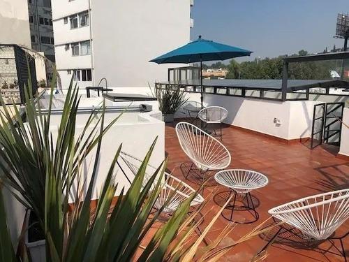 Precioso Departamento Con Roof Garden Privado, Av. Veracruz!
