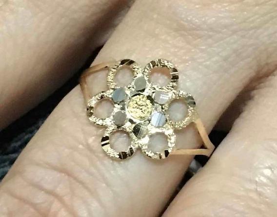 Anel Ouro 18k 750 Flor Esferas