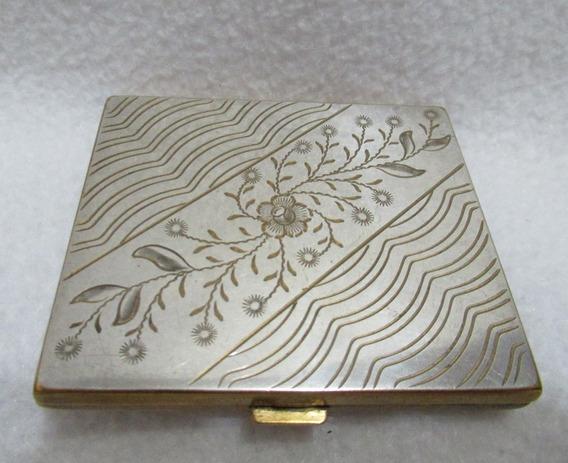 Polvera Metal Dorado Agme Made In Switzerland Espejo Organza