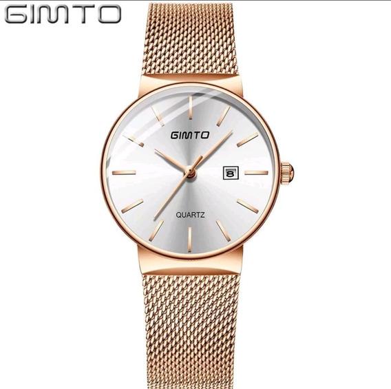 Relógio Feminino Gimto Luxo Aço Inoxidável Frete Grátis