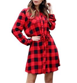 Vestido Xadrez De Viscose Feminina Camisa Inverno Top