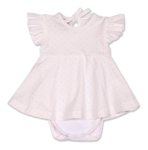 Vestido C/ Body Beba H/18 M Blanco O Colores. Regalosdemama