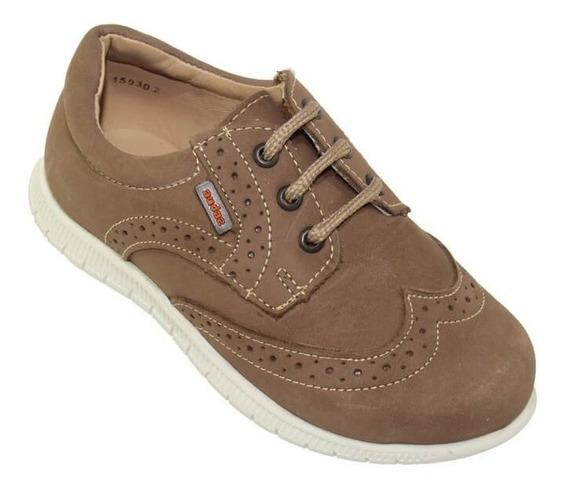 Zapatos Casuales Bostonianos Coqueta Niño Cafe Piel 159302t