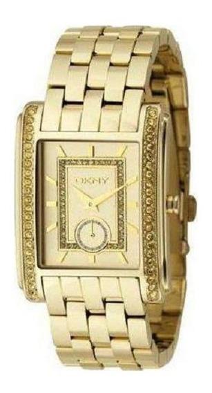Relógio Luxo Feminino Dkny Quadrado Dourado Original Ny4394
