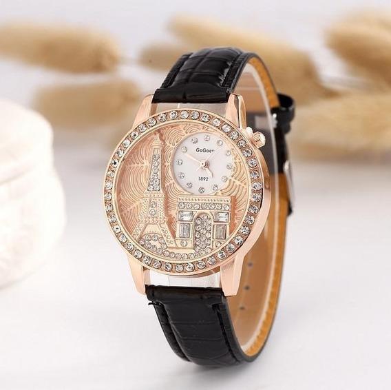 Relógio Feminino Paris Preto De Couro Charmoso Mulheres