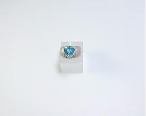 Anel Topázio Azul London Blue Prata 950 E Ouro 18k.