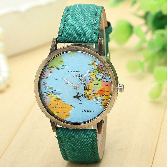 Relógio Mapa Mundo Viagem Pulseira Travel Barato
