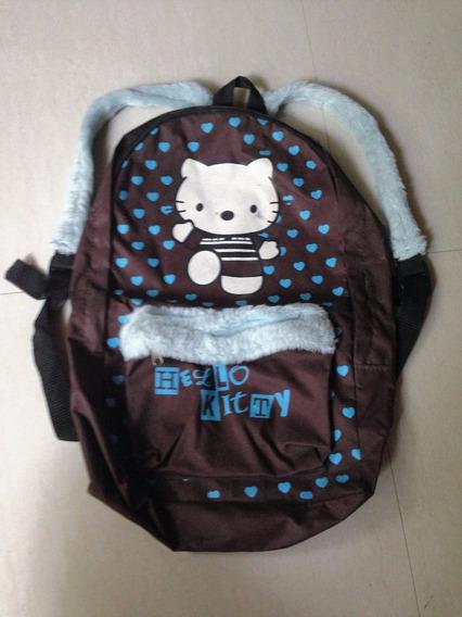 Mochila De Peluche Hello Kitty Marron Escolar Para Nenas