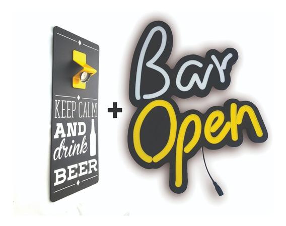 Abridor De Garrafas Keep Calm + Luminoso Led Bar Open
