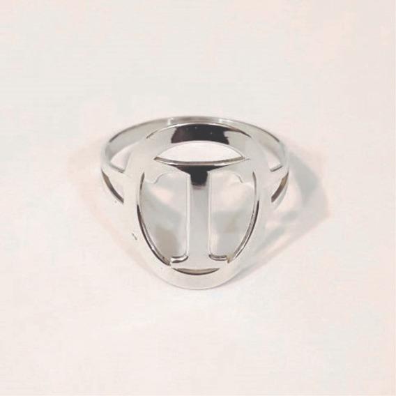 Anel Oval Letras - Prata 925