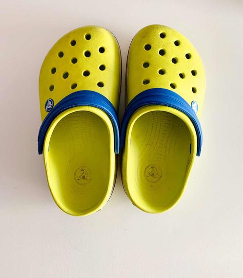 Crocs Combinadas Amarillo Lima Y Azul