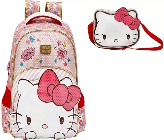Kit Mochila Hello Kitty Lovely+lancheira 7902 Original